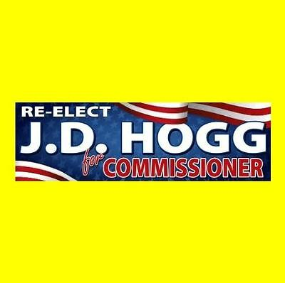 "New ""RE-ELECT J.D. HOGG FOR COMMISSIONER"" The Dukes of Hazzard STICKER boss luke"