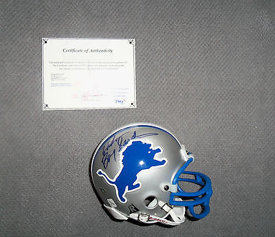 NFL : Barry Sanders Detroit Lions Autographed Mini Helmet in Case + COA - RARE
