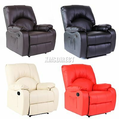 FoxHunter Leather Massage Cinema Recliner Chair Sofa Armchair Heating MLS-03 New