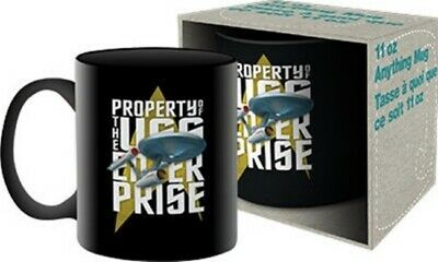 Star Trek Enterprise Property of the USS Enterprise Black Ceramic Mug, NEW BOXED