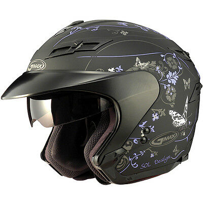 2-In-1 Cruiser Motorcycle Purple Butterfly Helmet Retractable Visor Full Shield