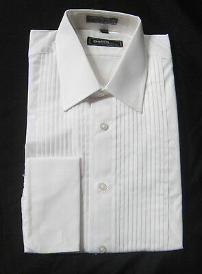 New 100% Cotton White Mens Large Laydown Collar Tuxedo Shirt Mason Knights