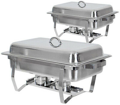 9Set of (2) Full Size Rectangular 8 Qt. Stainless Steel Chafing Dish Buffet Tray