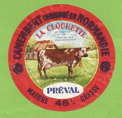 ETIQUETTE CAMEMBERT PREVAL CLOCHETTE   vache COW EXPORT curious