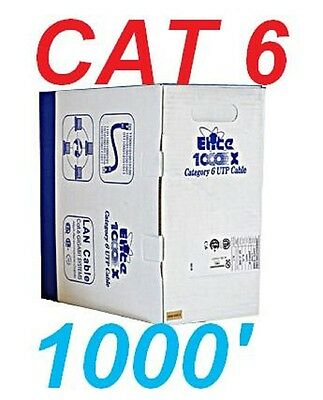 Cat6 1000' Ft Utp Cat 6 Network Cable Riser Ethernet Rj45 Lan Category 6 Wire