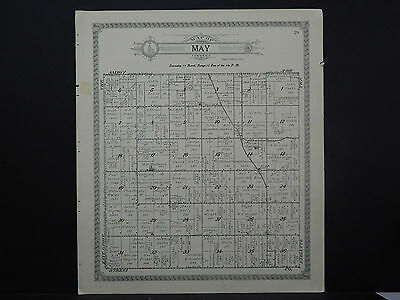 Illinois Lee County Map 1921 May or Bradford Township Double Side L15#89