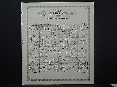 Illinois Lee County Map 1921 South Dixon or Marion Township Double Sided L15#87