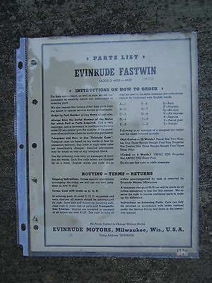 NEW 1950s Fastwin Models 4438-4439 Evinrude Outboard Motor Owner/'s Manual NOS
