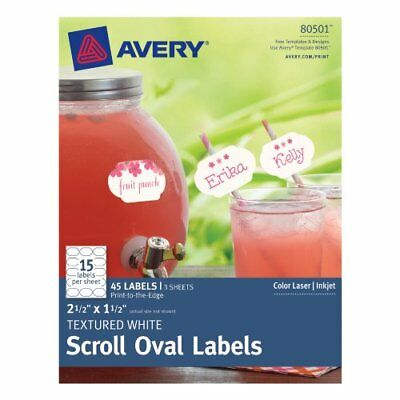 Avery Textured Scroll Oval Label, White, 2.5-Inch x 1.5-Inch, Pack of 45 (80501)