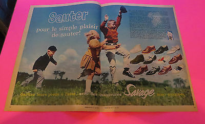 1962 Savage Shoes Advertisement French From Montreal Magazine Double Pager