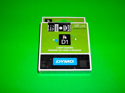 White On Black Dymo D1 Replacement Label Cassette To Fit Dymo Label Manager