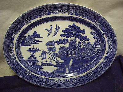 """Johnson Brothers ~ """"WILLOW BLUE"""" Tableware ~ Serving Platter 13 3/4"""" x 10 3/4"""""""