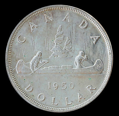 1950 Canada Silver Dollar - 3 Water Lines - George VI $1 MS UNC Coin Prooflike