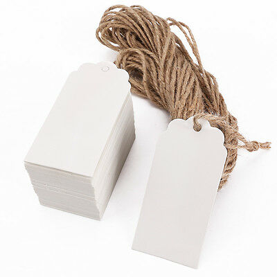 100x Label Paper Tag Gift Hang Card Price Blank Luggage Wedding Party+Hemp Rope