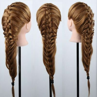 AU 22''/24''100% Human Hair Train Head Mannequin Makeup+Clamp Hairdressing Multi