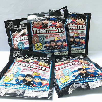 NHL Teenymates HOCKEY Collection 5pcs Exclusive Package 2 Figure & Puzzle Piece