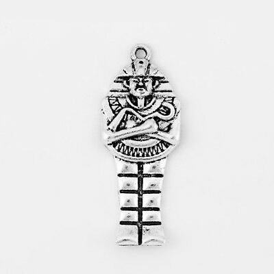 10 Antique Silver Egyptian Pharaoh King Mummy Charms Pendants Jewelry Findings
