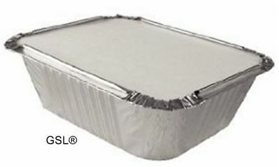 25 x ALUMINIUM FOIL FOOD CONTAINERS + LIDS No2 TAKEAWAY