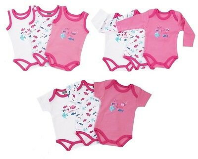 """Jacky Baby Body 3er-Pack """"Funny Fishes"""" rosa pink weiß Mädchen Gr. 50/56 - 86/92"""
