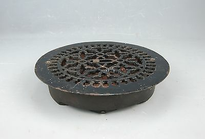 "Antique Machine Age Steampunk cast Iron Round Heat REGISTER VENT GRATE 14""D"