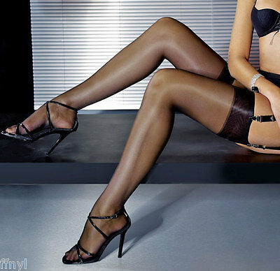 3 pairs NYLONZ Sheen Stockings Black M, L, XL -   FREE UK SHIPPING