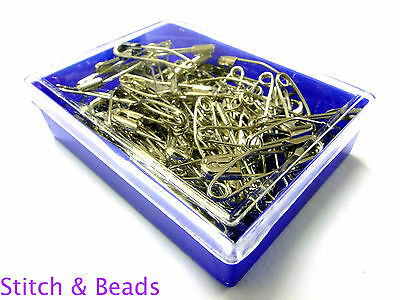 Curved Safety Pins 38mm x 60pcs Hardened & Tempered Metal Quilters Basting 41802