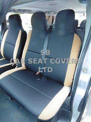 To Fit A Vauxhall Vivaro Van, 2006, Seat Covers, Graphite + Tan Suede 1S +1D