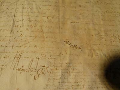 Antique 16-17thC French ? Land Contract Document Manuscript #A12