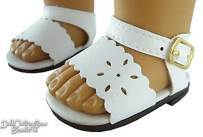 "White Summer Sandals Shoes for 18"" American Girl Doll Clothes"