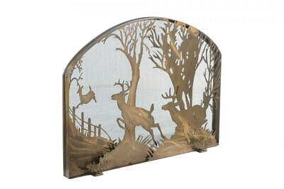 "Tiffany Rustic Country Deer Arched Fireplace Screen Antique Copper Finish 39.5""w"