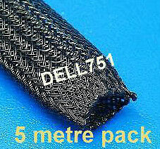 BRAIDED SLEEVING (flame resistant) 8mm dia. expands to 17mm dia. (5mtr pack)