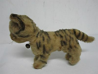 """ANTIQUE STEIFF GERMANY 5 1/4"""" STRIPED TABBY CAT with BELL ~ 8 1/2"""" WIDE"""