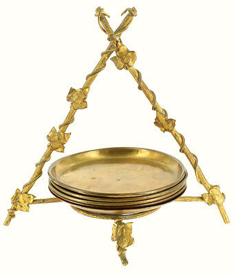 Antique French Empire Brass Cup Wine Coaster 4 - Gold Leaf Tripod Holder Leaves