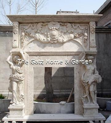 Stunning Hand Carvings Cover this Monumental Marble Fireplace Mantel, Overmantel
