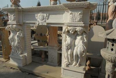 Stately Large Hand Carved Marble Fireplace Mantel with Exceptional Cherubs