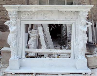 Large Hand Carved Marble Fireplace Mantel with Women Figures 10-07641