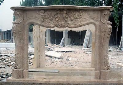 Hand Carved French Style Marble Fireplace Mantel
