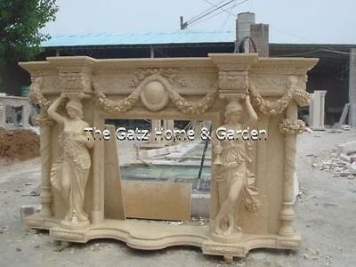 "Large Unique Carved Marble Fireplace Mantel, Male and Female Columns, 109"" Wide"