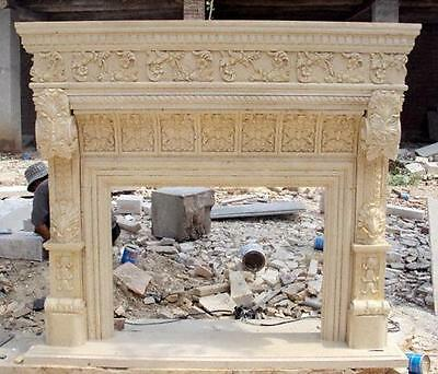 Egyptian Biege Hand Carved Marble Fireplace Mantel, Heavily Carved, French Style