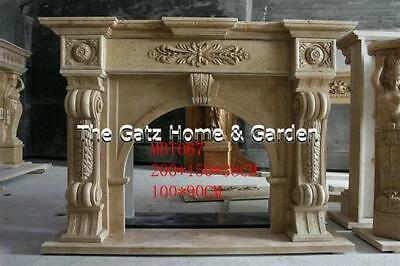 Stunning Hand Carved Yellow Traventine Fireplace Mantel, Arched Opening