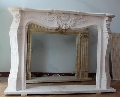 Simple yet Elegant White Marble Fireplace Mantel