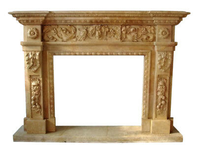 Hand Carved Marble Fireplace Mantel, Floral and Grape carvings. Square Opening