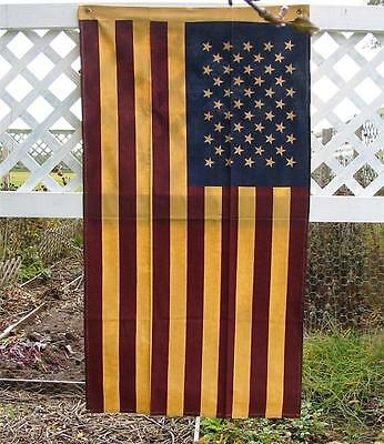Patriotic Tea Stained Flag Red White Blue Large 33 by 55 inches Vintage Style