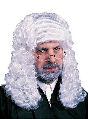 Adult White Barrister Colonial Judge Wig