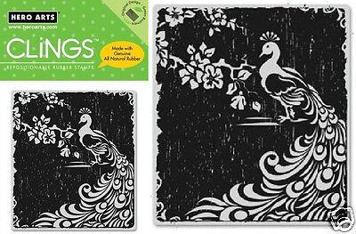 HERO ARTS CLINGS RUBBER Stamp LITTLE FEATHERS CG202 PEACOCK FEATHERS BEAUTIFUL!