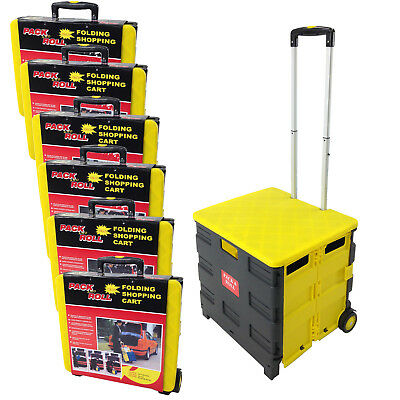 Six Folding Pack & Roll Portable Cart for Tools, Work, School or Grocery - Black