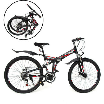 "26"" Folding Mountain Bicycle 21 Speed Shimano Foldable Bike Black Color"