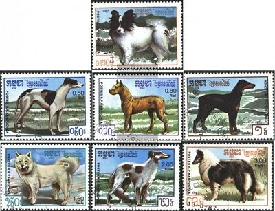 Cambodia 846-852 (complete.issue) used 1987 Dogs