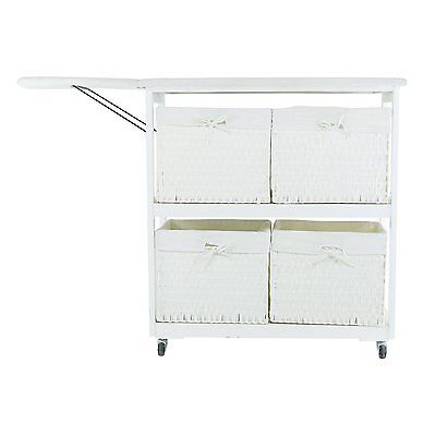 Corner Housewares NX-906 Portable Ironing Board with Laundry Baskets In White