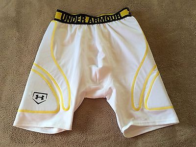 New Boys Under Armour Heatgear Fitted Compression Padded White Yellow Shorts Yxl